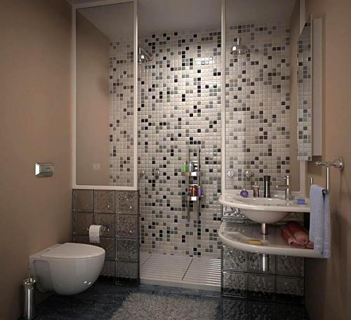 The typology of mosaic tiles Accessorizing a small bathroom