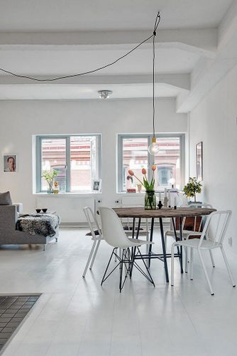 White Tile Living Floor